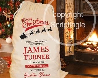 Personalised Merry Christmas santa sack / personalised Christmas sack CHRISTMAS IN JULY