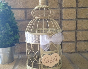 Bird Cage Wedding Card Holder, Ivory, Personalized, Small Birdcage Card Box, // BC02B