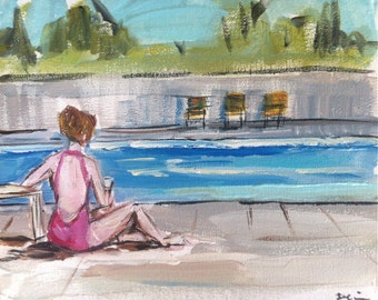 GIrl at Pool Painting Canvas Figurative