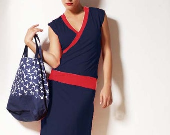 Dress Paula blue/red
