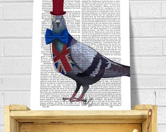 London print - London Pigeon print London Poster london decor british flag print british decor british poster pigeon art London gift