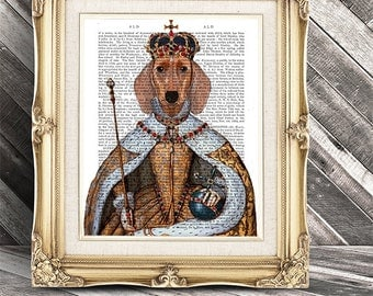 Dachshund Queen - red dachshund art print wiener dog gift wiener dog print doxie dachshund dog queen birthday gift for mom gifts for wife