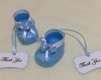 Baby Shower Favors - Baby Boy Shower Favors - Blue Baby Boy Booties Shower Favors With Thank You Tag - Baby Shower -  Set Of 10