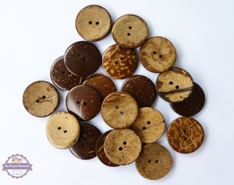 20 coconut buttons, 1 inch 25mm 2.5 cm coconut shell buttons, 1 inch wood buttons, Eco Friendly Button, Sewing Crafts Knitting Crochetting