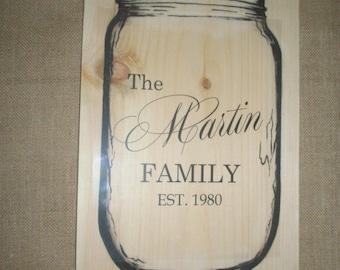 Beautiful Personalized Jar with Family Name