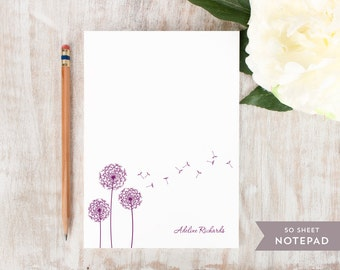 Personalized Notepad - DANDELION - Stationery / Stationary Notepad