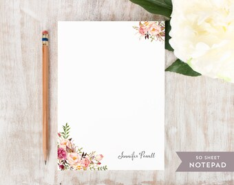Personalized Notepad - PAINTED FLORALS I - Stationery / Stationary Notepad - rustic floral peonies watercolor notes