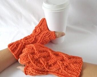 Pumpkin Merino Fingerless Gloves, Wrist warmers, Wool Cable Knit Mittens, Orange Arm Warmers, Hand Warmers, Celtic Knit Half Finger Gloves