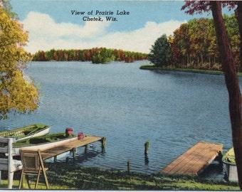Chetek Wisconsin Boats Docked on Prairie Lake Vintage Postcard 1957