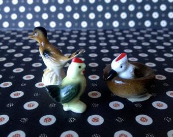 Vintage dollhouse pets, miniature bird figurines, vintage new