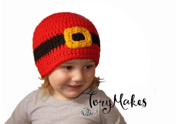 Crochet Santa Hat, Christmas Santa Belt Baby Hat, Santa Buckle Beanie, Baby Girl Christmas, Toddler Boys Christmas Hat, Knit Santa, Newborn