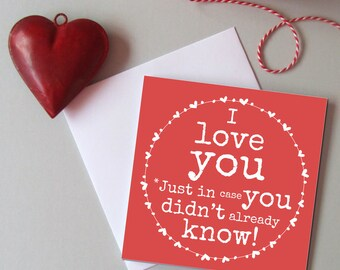I love you card - card for wife - card for husband - Card for partner - Romantic card -  Valentine's day card - Wedding, anniversary card.