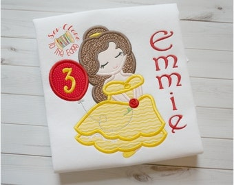 Belle Beauty Beast Inspired Applique Girls T-Shirt - Personalized Appliqued Birthday Shirt - Embroidered Beauty Beast Belle Birthday