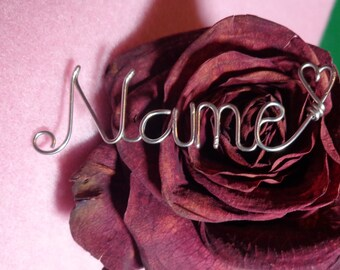 Wire Wrapped Name Necklace w/Swarovski Drop