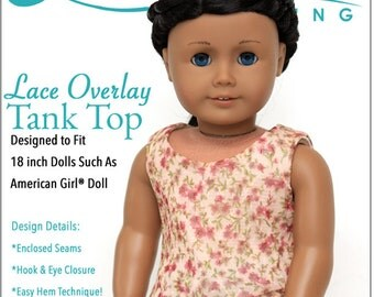 Pixie Faire Liberty Jane Lace Overlay Tank Top Doll Clothes Pattern for 18 inch American Girl - Pixie Faire