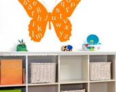 Alphabet Wall Decal, ABC Playroom Wall Decal, Butterfly Wall Decal Vinyl Lettering, Childrens Decor Vinyl Decal, Kids Vinyl Wall Art