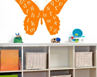 Alphabet Wall Decal ABC Playroom Wall Decal Butterfly Wall Decal Vinyl Lettering Childrens Decor Vinyl Decal Kids Vinyl Wall Art