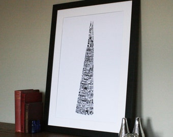 London Typographic Print - The Shard