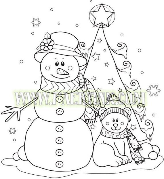 Snowman Teddy Bear Christmas Tree Winter Holidays Snowflakes PNG JPG No Lines Digital Stamp Line Art Drawing