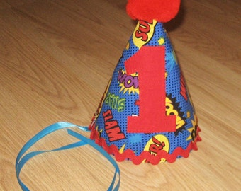 First birthday party hat - Fabric party hat - Superhero outfit - Superhero party hat - Baby boy birthday hat - Pow - Blue superhero outfit