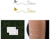 Metallic Gold / Silver Believe Temporary Tattoo (Set of 4)