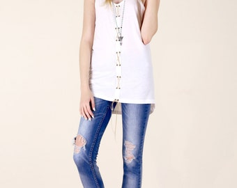 Lace Up Corset Front Tank Top - White