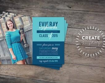 Senior Invitation. Open House Invitation. Custom Printable, Custom Colors