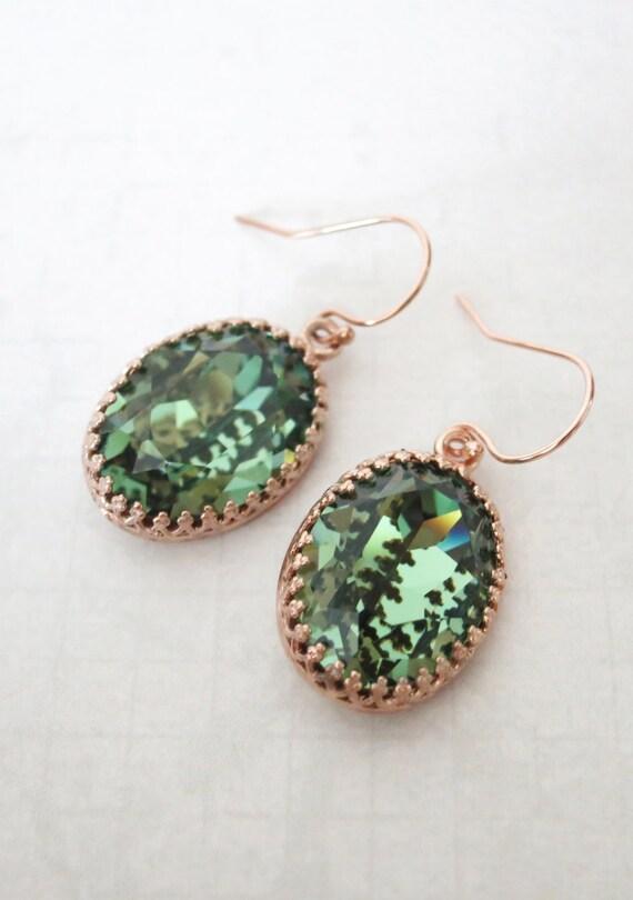 Rose Gold FILLED Swarovski Erinite Green Oval Crystal Earrings, wedding bridal earrings, bridal bridesmaid gifts, pink gold weddings