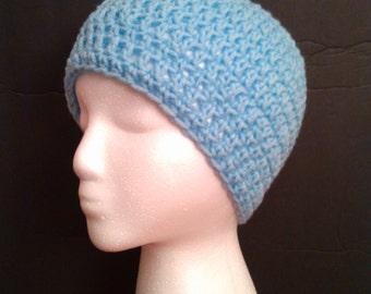 Light Blue Crochet Beanie - Ready to Ship (#20-104)