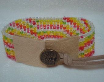 Springtime Colors Loom Beaded Cuff Bracelet Beadwork Handmade