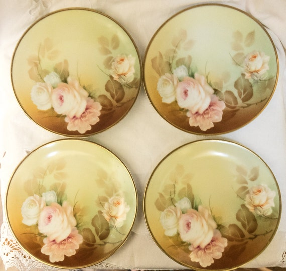 rs germany plates shabby chic roses floral by. Black Bedroom Furniture Sets. Home Design Ideas