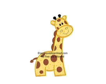 Cute Giraffe Embroidery Applique - Instant EMAIL With Download - for Embroidery Machines