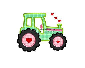 Tractor - Valentine's Day Applique Design - 3 sizes - Instant EMAIL With Download