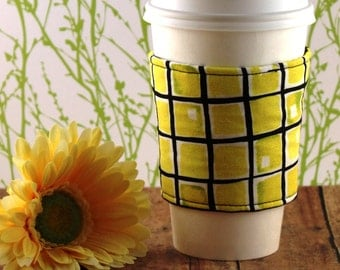 CLEARANCE / Fabric Coffee Cozy / Yellow Blocks Coffee Cozy / Square Coffee Cozy / Coffee Cozy / Tea Cozy