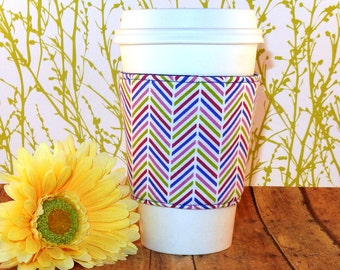 Fabric Coffee Cozy / Chevron Coffee Cozy / Coffee Cozy / Tea Cozy
