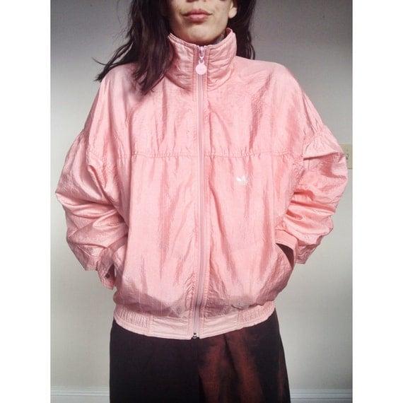 90's ADIDAS Pink Windbreaker Jacket Baby Pink