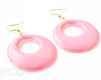 Mod earrings, 60s hoop earrings, Pink earrings, Vintage dangle earrings, Handmade