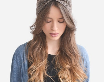 Hand Knit Headband in Light Brown, Custom Ear Warmer, Womens Turban, Boho Chic Headband, Handknitted Turband, Winter Turban