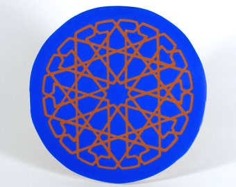 Mandala Trivet - Terracotta and Cobalt Ceramic Trivet - Tile Trivet - Moroccan Hot Plate - Art Tile