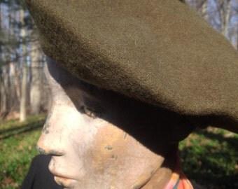 Beret Vintage Wool Khaki Brown Green
