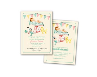 Digital Vintage Baby Shower Invitation / Baby Announcement / Neutral Colors / editable PDF/ add your text then print it
