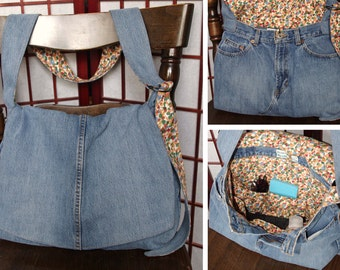 Recycled Denim Bag, Messenger Bag, Upcycled Jeans Crossbody, Ecofriendly Fabric Cross Body, Denim Purse, Adjustable Strap Bag, Large Purse