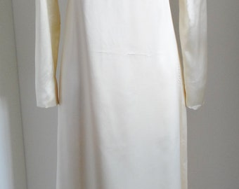 Vintage Wedding Dress 1960's Wedding Dress Hand Made Victorian Style Cream Satin UK Size 8 - 10
