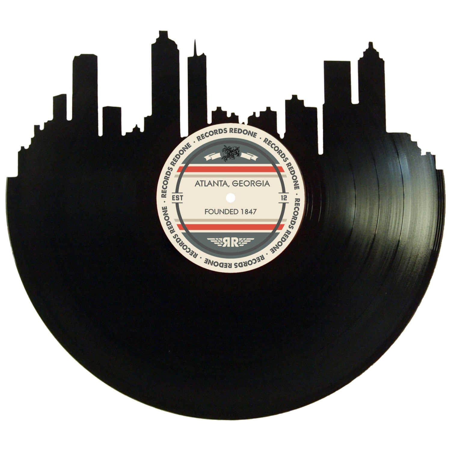 Atlanta skyline records redone label vinyl record wall art for Vinyl records decorations for wall