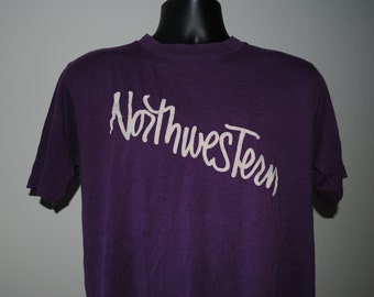 80's Northwestern University Vintage Northwestern Wildcats Velva Sheen Evanston Illinois T-Shirt