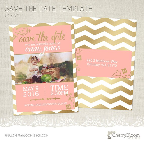 birthday save the date card template for photographers bd02. Black Bedroom Furniture Sets. Home Design Ideas