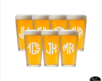 SHIPS FAST - SEVEN Pint Glasses, Engraved Pint Glasses, Custom Pint Glasses, Personalized Pint Glasses, Etched Pint Glass, Groomsmen Glasses