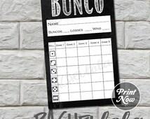 Bunco score card, chalkboard, instant download, Buy 2 Get 1 FREE