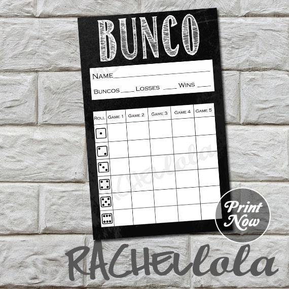 bunco score card chalkboard instant download buy 2 get 1