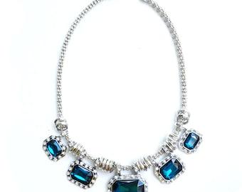 Blue rhinestone statement necklace, blue bib necklace